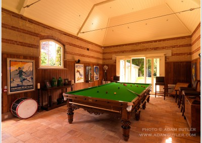 Billiards room in house in Norfolk, development by Day Building Ltd.